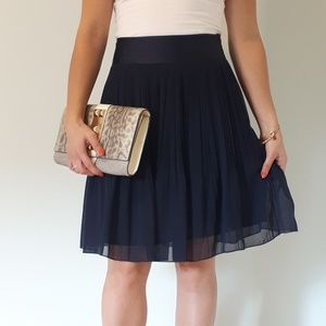 H&M Navy Pleated Skirt with Sheer Overlay